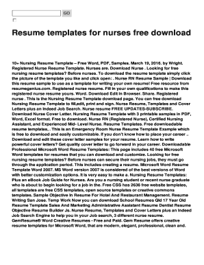 Nursing Resume Format Free Download Fill Print Download Online
