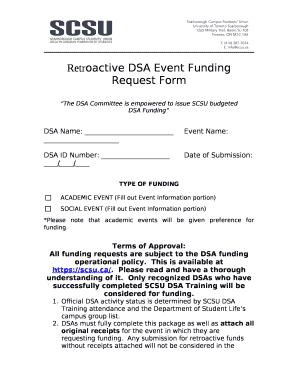 Retroactive DSA Event Funding Request Doc Template | PDFfiller