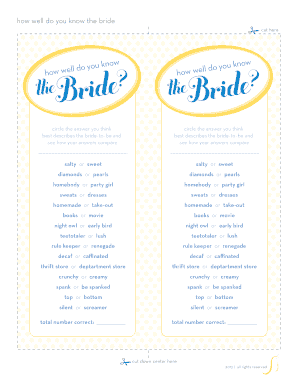 photograph relating to How Well Do You Know the Bride Free Printable named how properly do oneself understand the bride no cost printable template