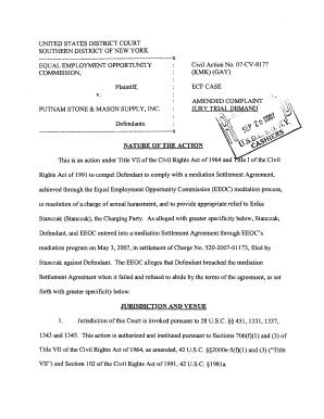 Editable sample eeoc settlement agreement - Fill, Print