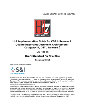 Fillable Online HL7 Implementation Guide for CDA Release 2: Fax