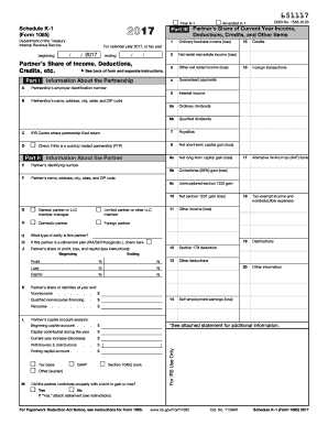 IRS Form 1065 (Schedule K-1) 2017 - Fill out and Edit ...