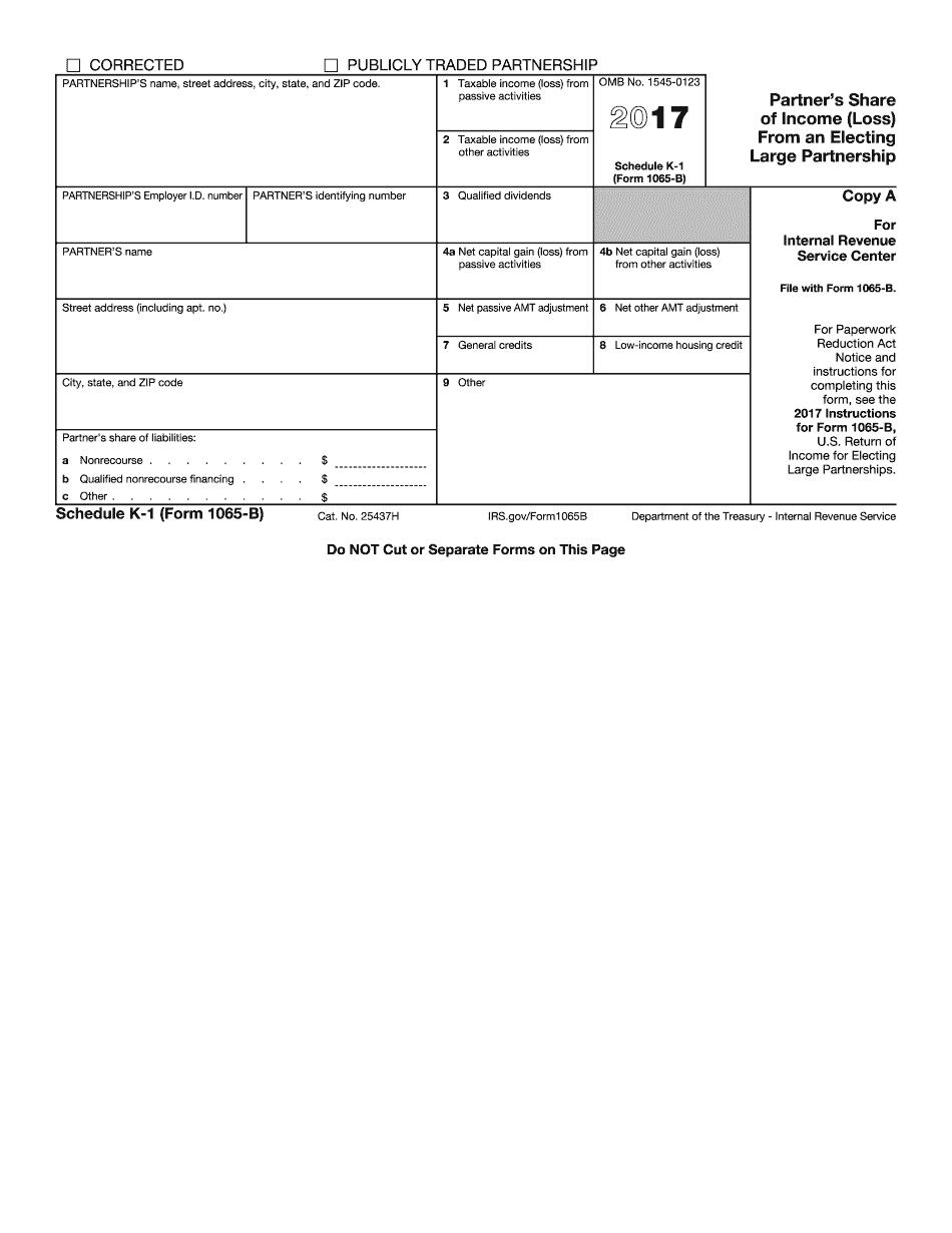 Form Schedule K-1 (1065-B)