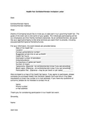 Health Fair Exhibitor Vendor Invitation Letter Doc Template