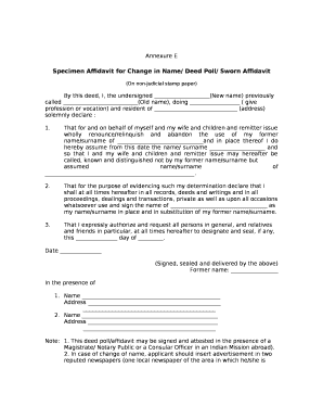 Fillable online specimen affidavit for change in name deed poll rate this form maxwellsz