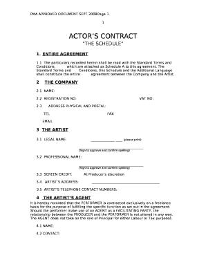 actors contract template doc template pdffiller. Black Bedroom Furniture Sets. Home Design Ideas