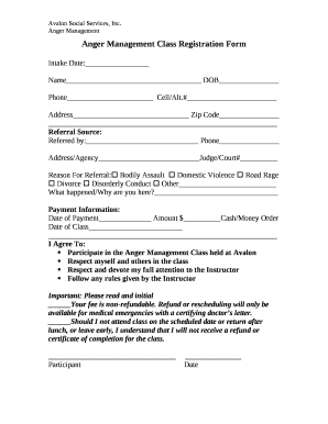 Fillable Online Anger Management Class Registration Form Fax Email