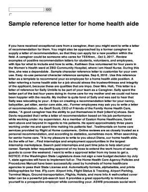 reference letter for a home health aide