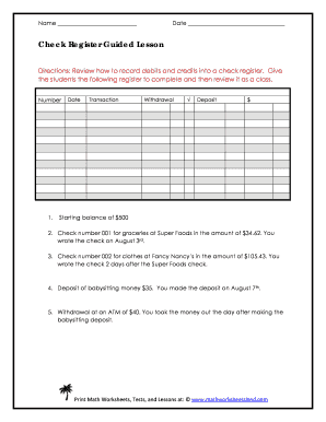 check register guided lesson fill online printable fillable blank