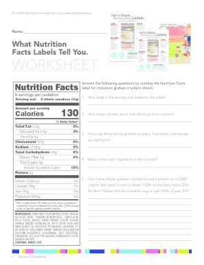 Blank Nutrition Label Worksheet