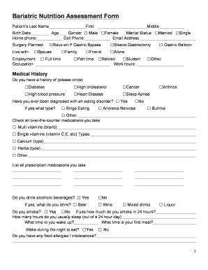 Printable Bariatric Nutrition Assessment Form Templates To Submit