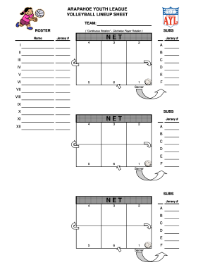 image about Volleyball Lineup Sheet Printable referred to as VOLLEYBALL LINEUP SHEET Fill On the internet, Printable, Fillable