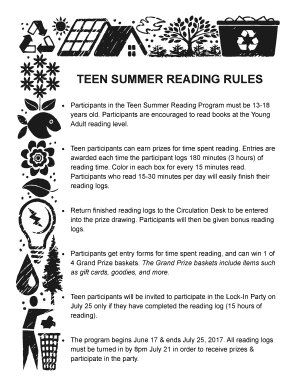image about Summer Rules Printable named Teenager Summertime Looking at Pointers Fill On the internet, Printable, Fillable