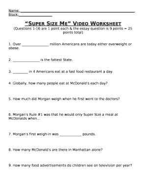 Fillable Online Super Size Me Video Worksheet Fax Email Print ...