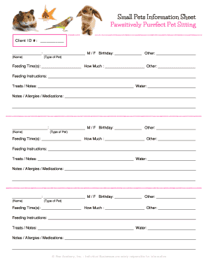printable free pet information sheet edit fill out download