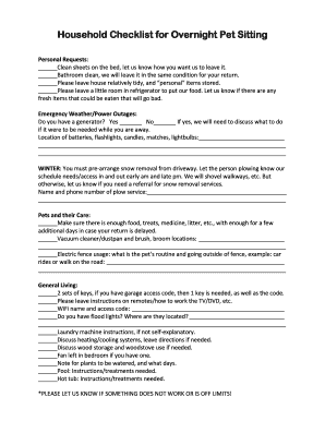 printable pet sitting checklist template edit fill out download