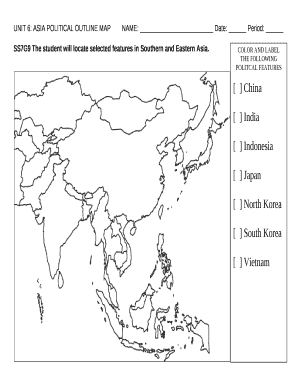 Map Of Asia Fill In.Unit 6 Asia Political Outline Mapname Date Period Template Doc