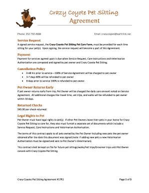 printable free printable pet sitting forms edit fill out