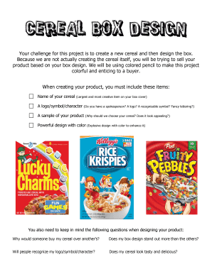 cereal box design project - Fill Out Online Documents