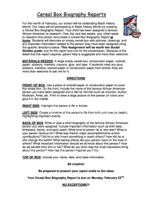 cereal box biography template - Fill Out Online Documents, Download ...