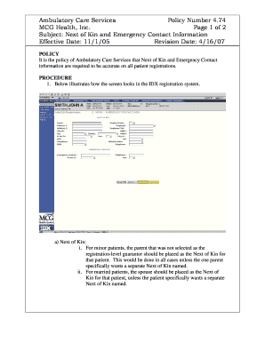 Subject: Next of Kin and Emergency Contact Information Fill