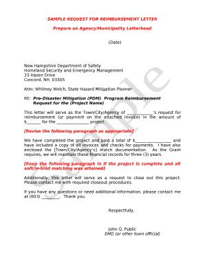 Fillable reimbursement request letter - Download Budget
