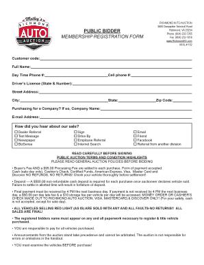Richmond Auto Auction >> Fillable Online Richmond Auto Auction Fax Email Print Pdffiller