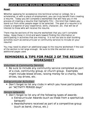 Cashs Resume Building Worksheet Instructions Doc Template Pdffiller