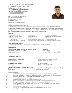 THOMAS RUDOLPH ANTHONY template Doc Template | PDFfiller