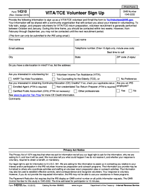 Editable IRS Form 14310 for 2017-2018