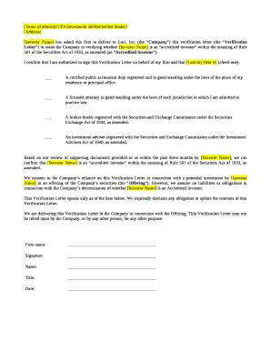 Fillable Accredited Investor Verification Letter Edit Online