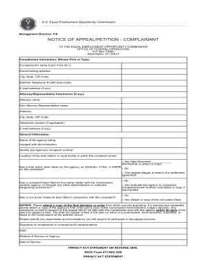EEOC Form 573 (Notice of Appeal / Petition)