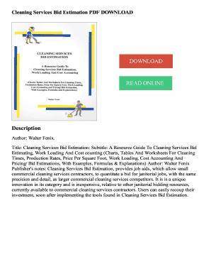 cleaning services bid estimation pdf download