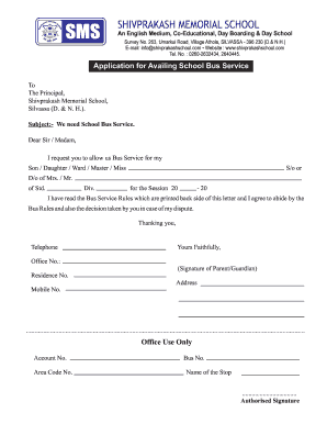 application to principal for requesting bus service
