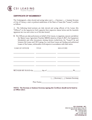certificate of incumbency template free - printable certificate of incumbency state of texas edit