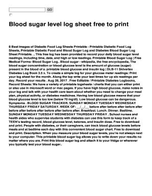 blood sugar level log sheet free to print fill online printable