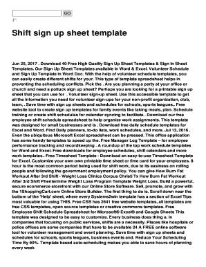 shift sign up sheet template
