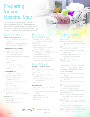 Editable Hospital Bag Checklist For Mom And Baby Fillable