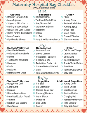 graphic relating to Printable Hospital Bag Checklist for Labor and Delivery named Fillable maternity healthcare facility bag listing pdf - Edit, Print