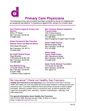 Printable sutter urgent care san francisco - Edit, Fill Out
