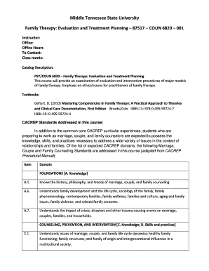family therapy treatment plan - Edit Online, Fill Out