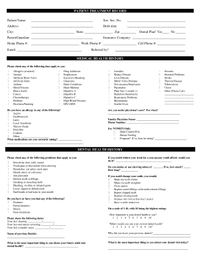 Printable Patient Treatment Record Form Templates to Submit