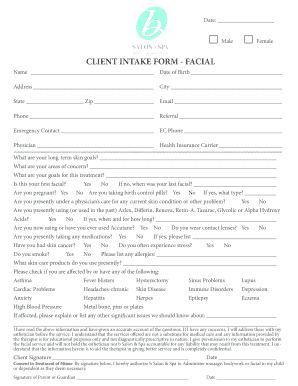 Fillable Facial Client Intake Form Template