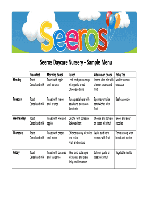 Editable sample daycare menu template Form Online in PDF ...