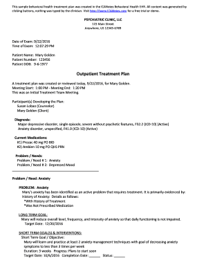sample treatment plan for depression - Edit Online, Fill Out
