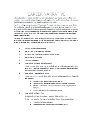 career narrative essay example fill print online  a career narrative is a concise record of your career development goal in essay form