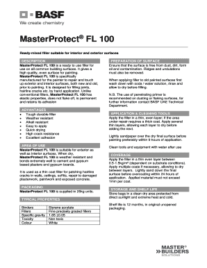 Fillable Online MasterProtect FL 100 Fax Email Print - PDFfiller
