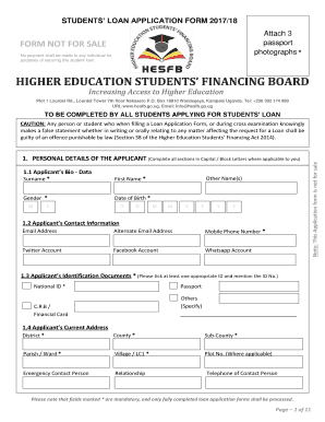 STUDENTS LOAN APPLICATION FORM 2017/18