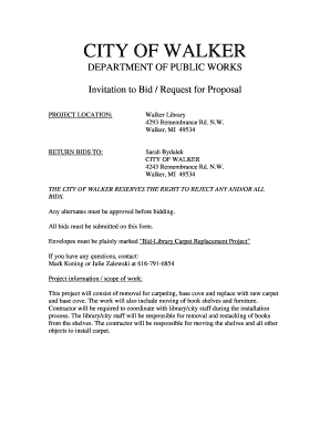Fillable Online Invitation to Bid / Request for Proposal Fax