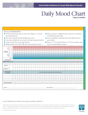 Daily Mood Chart - Cigna Fill Online, Printable, Fillable, Blank